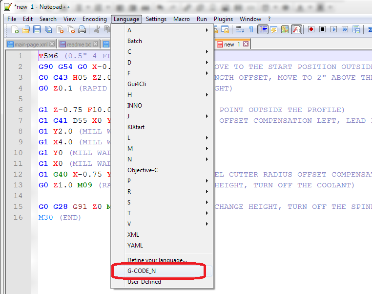 Notepad++: Absolutely Free G-Code Editor With Code Highlighting
